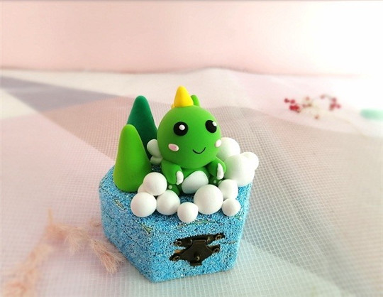 陶指艺创意DIY粘土恐龙收纳盒,太可爱了!